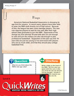 Four Quick Sixth Grade Writing Prompts (Set 5)