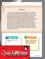 Four Quick Sixth Grade Writing Prompts (Set 6)