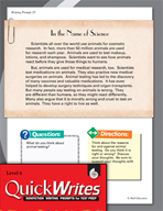 Four Quick Sixth Grade Writing Prompts (Set 7)