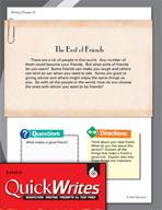 Four Quick Sixth Grade Writing Prompts (Set 9)