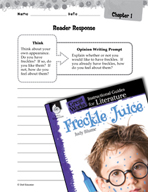 Freckle Juice Reader Response Writing Prompts (Great Works