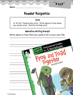 Frog and Toad Together Reader Response Writing Prompts (Great Works Series)