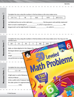 Geometry Leveled Problems: Measurement Stories