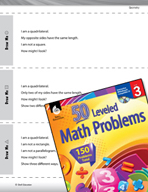 Geometry Leveled Problems: Use Clues to Draw Shapes