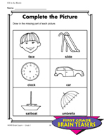 Grade 1 Fill-in-the-Blanks Critical Thinking Activities