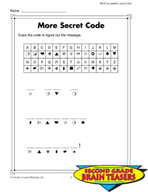 Grade 2 Word Scrambles and Codes Critical Thinking Activities