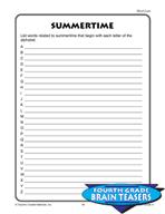 Grade 4 Word Lists Critical Thinking Activities (Set 1)