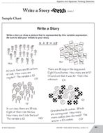 Guided Math Stretch: Variable Expressions - Write a Story
