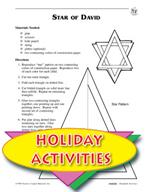 Hanukkah Activities - Menorah, Star of David, and Hanging Dreidel patterns