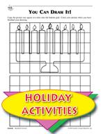 Hanukkah Holiday Cooking and Menorah Pattern
