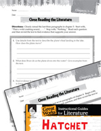 Hatchet Close Reading and Text-Dependent Questions (Great Works Series)