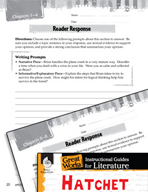 Hatchet Reader Response Writing Prompts (Great Works Series)