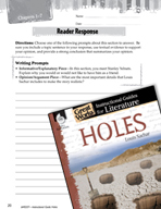 Holes Reader Response Writing Prompts (Great Works Series)