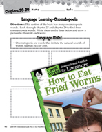 How to Eat Fried Worms Language Learning Activities (Great