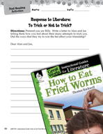 How to Eat Fried Worms Post-Reading Activities (Great Work