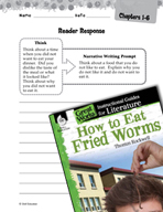How to Eat Fried Worms Reader Response Writing Prompts (Gr