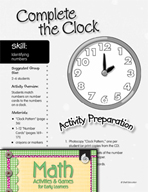 Identifying Numbers - Complete the Clock Activity