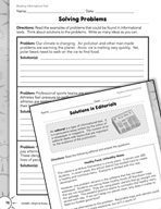 Informational Text: Problem/Solution Practice