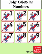 July Calendar Numbers by Karen's Kids