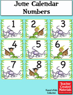 June Calendar Numbers by Karen's Kids