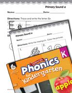 Kindergarten Foundational Phonics Skills: Primary Sound e