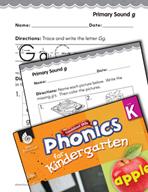 Kindergarten Foundational Phonics Skills: Primary Sound g