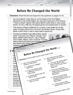 Language Arts Test Preparation Level 4 - Before He Changed the World (Practicing for Today's Tests Series)