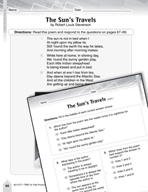 Language Arts Test Preparation Level 4 - The Sun's Travels (Practicing for Today's Tests Series)