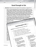 Language Arts Test Preparation Level 5 - Good Enough to Eat (Practicing for Today's Tests Series)