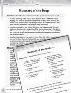Language Arts Test Preparation Level 5 - Monsters of the Deep (Practicing for Today's Tests Series)