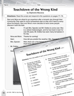 Language Arts Test Preparation Level 5 - Touchdown of the Wrong Kind (Practicing for Today's Tests Series)