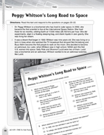 Language Arts Test Preparation Level 6 - Peggy Whitson's Long Road to Space (Practicing for Today's Tests Series)