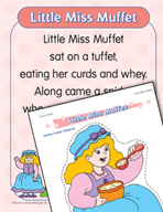 """Learning Center Activities for """"Little Miss Muffet"""""""