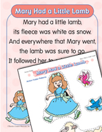 """Learning Center Activities for """"Mary Had a Little Lamb"""""""