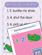 "Learning Center Activities for ""One, Two, Buckle My Shoe"""