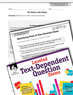 Leveled Text-Dependent Question Stems: Identifying Point of View