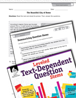 Leveled Text-Dependent Question Stems: Summarizing