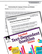 Leveled Text-Dependent Question Stems: Using Text Features