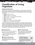Living Organisms Inquiry Card - Classification of Living O