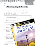 M.C. Higgins, the Great Post-Reading Activities (Great Wor