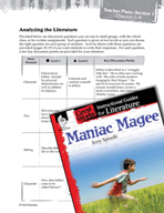 Maniac Magee Leveled Comprehension Questions (Great Works Series)