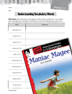 Maniac Magee Vocabulary Activities (Great Works Series)
