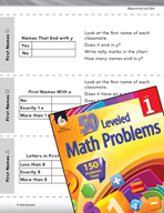 Measurement and Data Leveled Problem: Tally Charts - First Names
