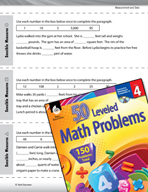 Measurement and Data Leveled Problems: Complete the Story