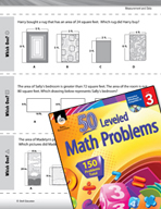 Measurement and Data Leveled Problems: Find the Area