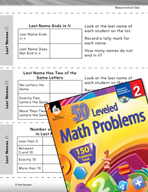 Measurement and Data Leveled Problems: Organizing Information in a List
