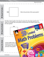 Measurement and Data Leveled Problems: Perimeter of Squares and Rectangles