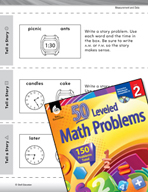 Measurement and Data Leveled Problems: Write a Story with Time Details