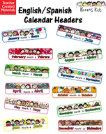 Monthly English/Spanish Calendar Headers by Karen's Kids
