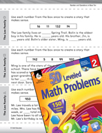 Number and Operations in Base Ten Leveled Problems: Create a Story With Numbers.